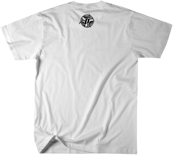 Back side of Multi Board design in over a white premium fitted short sleeve crew neck tee. Super-soft 100% combed ring-spun cotton high-end jersey 4.3 oz.