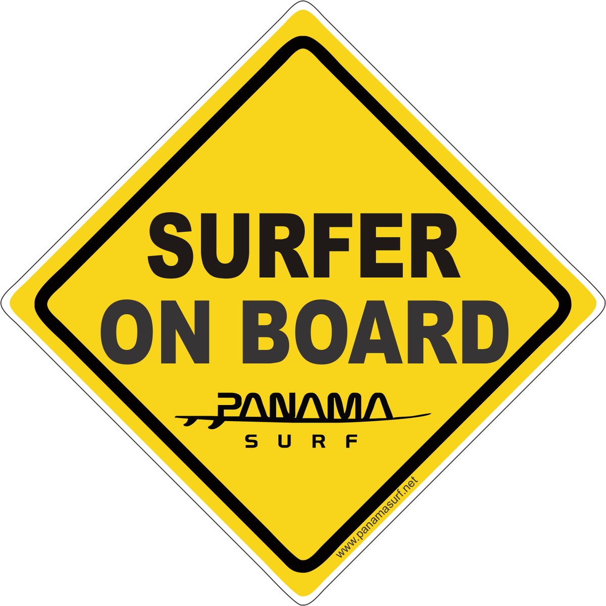 "SURFER ON BOARD decal Die cut sticker. Printed vinyl decal. Approximately 5"" wide x 5"" tall."