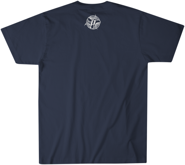 Back side of TUBE TV over a indigo premium fitted short sleeve crew neck tee. Super-soft 100% combed ring-spun cotton high-end jersey 4.3 oz.