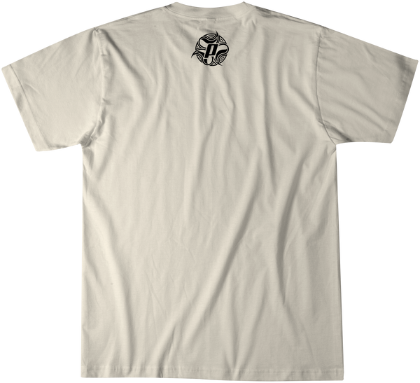 Back side of TUBE TV over a sand premium fitted short sleeve crew neck tee. Super-soft 100% combed ring-spun cotton high-end jersey 4.3 oz.