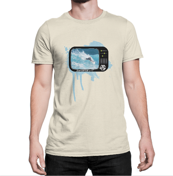 Man wearing TUBE TV design over a sand premium fitted short sleeve crew neck tee. Super-soft 100% combed ring-spun cotton high-end jersey 4.3 oz.