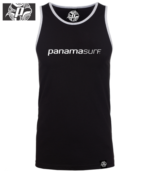 Super-soft jersey tank 100% combed cotton jersey in black with the Panama Surf letters graphics - Panama Surf®