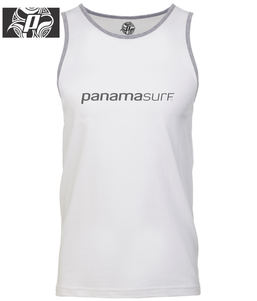 Super-soft jersey tank 100% combed cotton jersey in white with the Panama Surf letters graphics - Panama Surf®