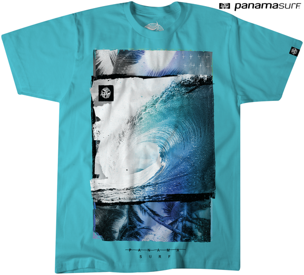 Tunnel Vision graphic on Tahiti Blue colored premium fitted short sleeve crew neck tee. Super-soft 100% combed ring-spun cotton high-end jersey 4.3 oz. from Panama Surf® brand