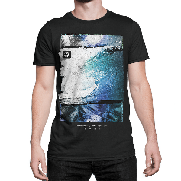 Model wearing Tunnel Vision graphic on black colored premium fitted short sleeve crew neck tee. Super-soft 100% combed ring-spun cotton high-end jersey 4.3 oz. from Panama Surf® brand