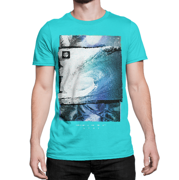Model wearing Tunnel Vision graphic on Tahiti Blue colored premium fitted short sleeve crew neck tee. Super-soft 100% combed ring-spun cotton high-end jersey 4.3 oz. from Panama Surf® brand