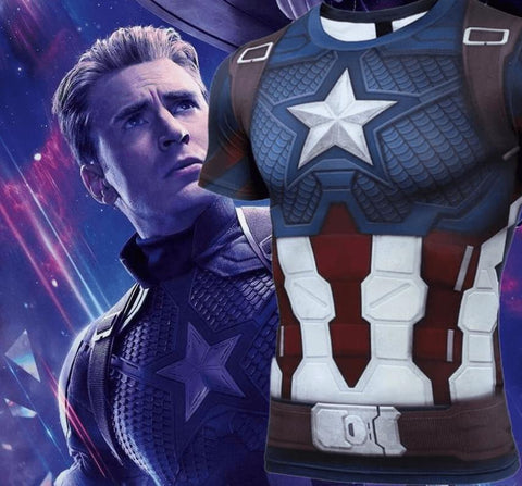 Captain America Steve Rogers 'End Game' Premium Short Sleeve Compression Rash Guard