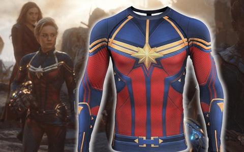 Women's Captain Marvel Compression 'End Game' Long Sleeve Rashguard
