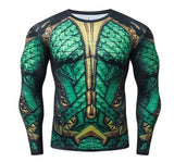 Aquaman Arthur Curry 'Comic' Long Sleeve Compression Rash Guard