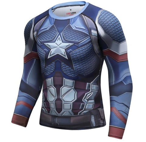 Captain America Steve Rogers 'End Game' Elite Long Sleeve Compression Rash Guard