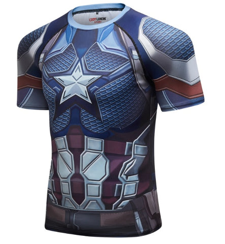 Captain America Steve Rogers 'End Game' Elite Short Sleeve Compression Rash Guard