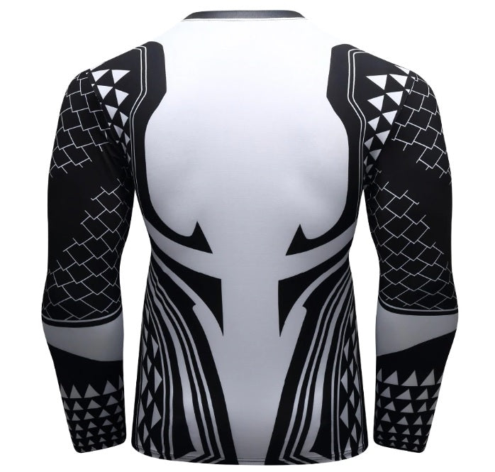 Aquaman 'Dark Tattoo' Elite Long Sleeve Compression Rash Guard