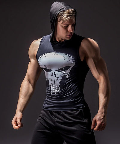 The Punisher Hooded Compression Tank Top
