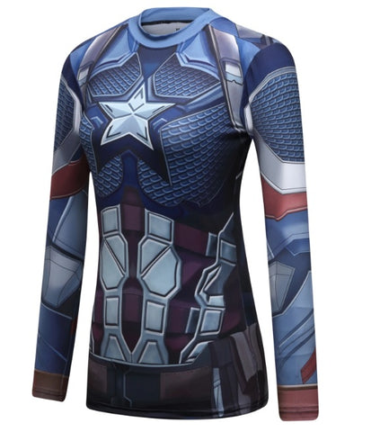 Women's Captain America Steve Rogers 'End Game' Elite Long Sleeve Compression Rash Guard