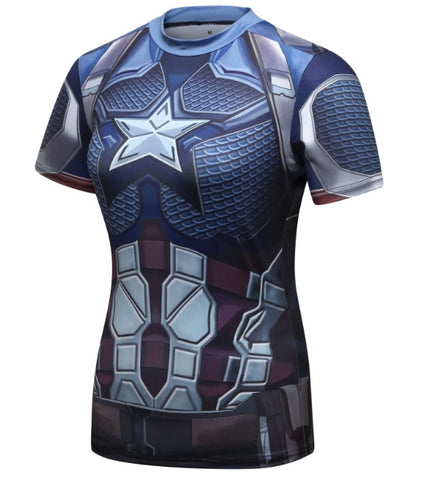 Women's Captain America Steve Rogers 'End Game' Elite Short Sleeve Compression Rash Guard