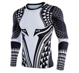 Aquaman 'Dark Tattoo' Long Sleeve Compression Rash Guard-RashGuardStore