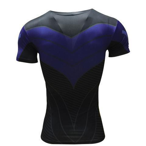 Batman Nightwing Blue Short Sleeve Rashguard-RashGuardStore