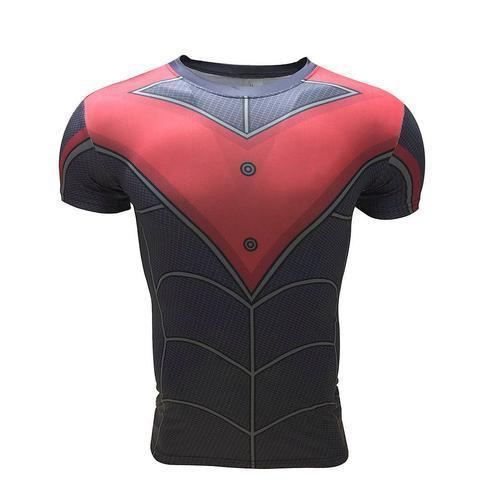 Batman Nightwing Red Short Sleeve Rashguard-RashGuardStore