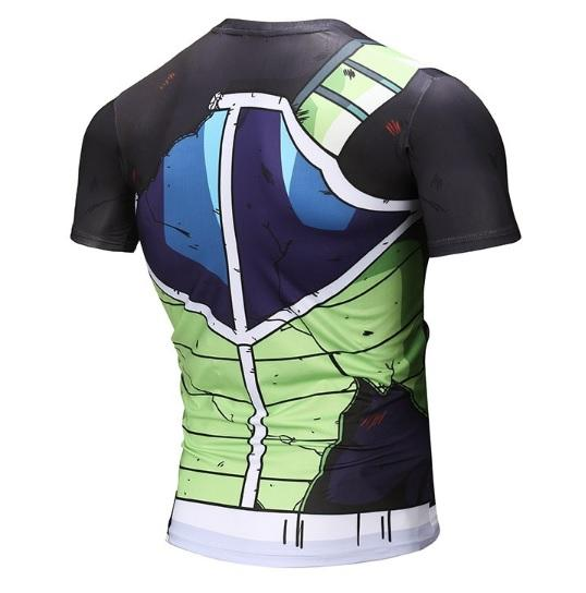 Battle Damaged Onyx Bardock Armor Dragon Ball Z Short Sleeve Compression Rash Guard-RashGuardStore