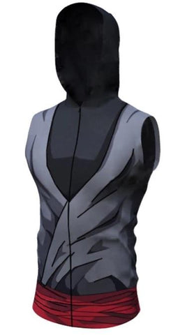 Black Armor Dragon Ball Z Sleeveless Hoodie-RashGuardStore