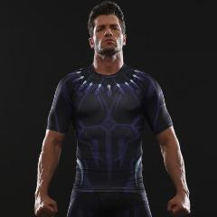 Black Panther 'Civil War' Compression Short Sleeve Rashguard-RashGuardStore