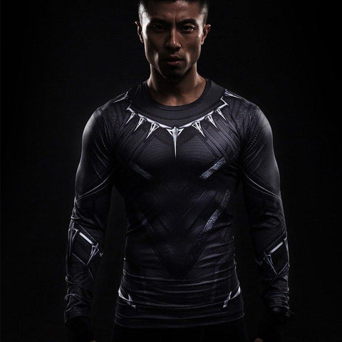 Black Panther Compression Long Sleeve Rashguard-RashGuardStore