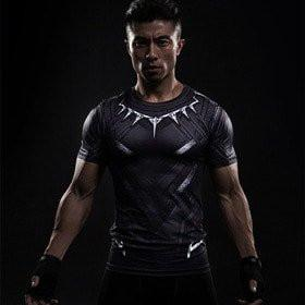 Black Panther Short Sleeve Compression Rash Guard-RashGuardStore