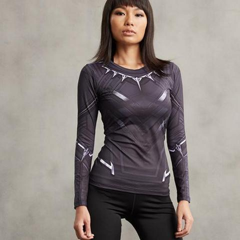 Black Panther Women's Compression Long Sleeve Rash Guard-RashGuardStore
