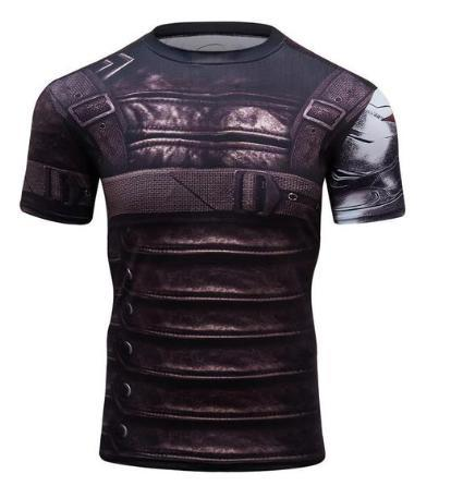 "Buck ""Winter Soldier"" Wakanda Compression Short Sleeve Rashguard-RashGuardStore"