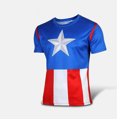 "Captain America ""Comic"" Short Sleeve Compression Rash Guard-RashGuardStore"