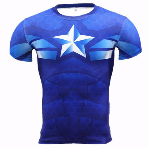 "Captain America ""Hydra Ice"" Compression Short Sleeve Rash Guard-RashGuardStore"