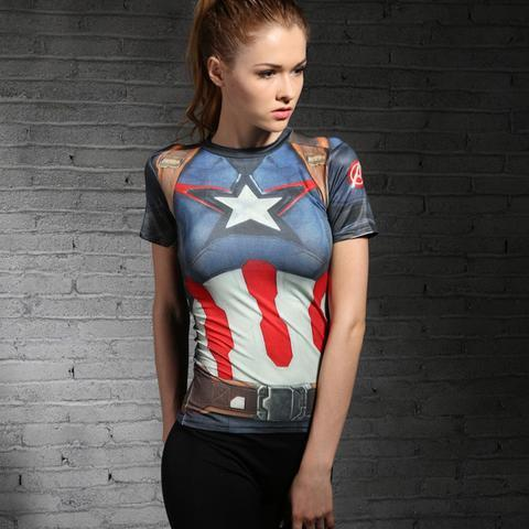 "Captain America ""Stars And Stripes"" Women's Compression Rash Guard-RashGuardStore"