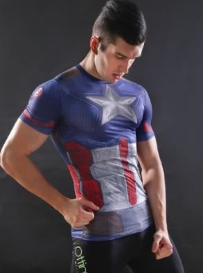Captain America 'The First Avenger' Compression Short Sleeve Rashguard-RashGuardStore