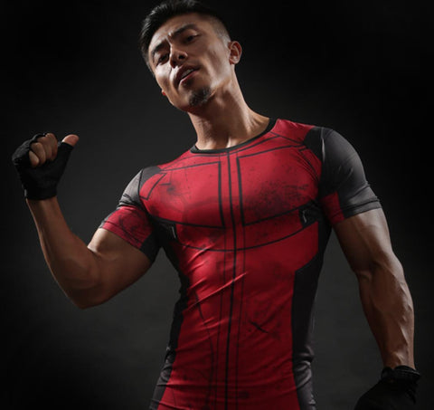Deadpool 'Comic' Short Sleeve Compression Rashguard-RashGuardStore