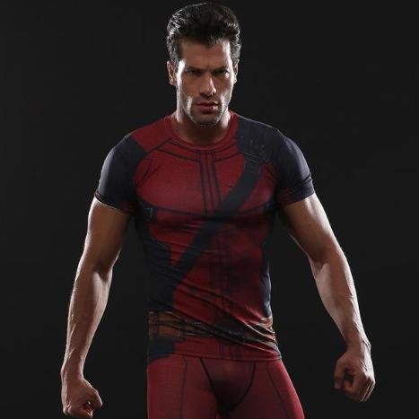 Deadpool Short Sleeve Compression Rashguard-RashGuardStore