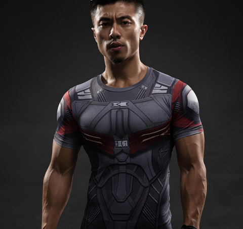Falcon Captain America Short Sleeve Compression Rashguard-RashGuardStore