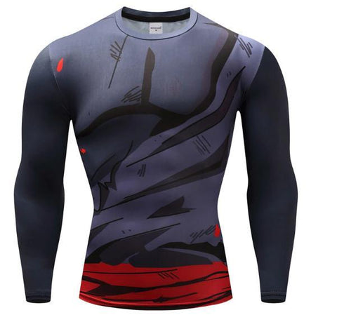 Gohan Super Saiyan Ripped Gi Long Sleeve Dragon Ball Z Compression Rash Guard-RashGuardStore