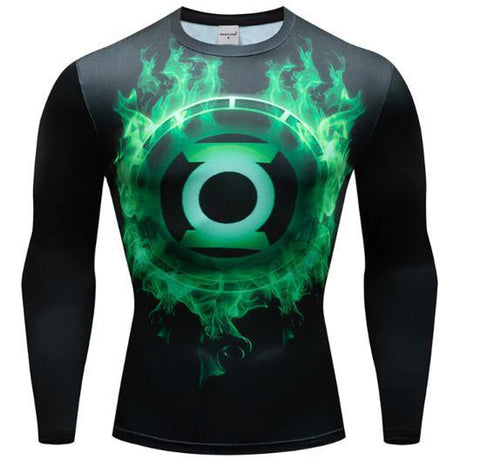 Green Lantern 'Green Flame' Premium Dri-Fit Long Sleeve Rash Guard-RashGuardStore
