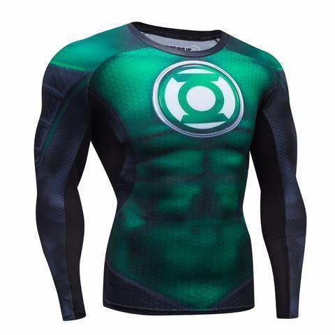 Green Lantern Premium Compression Long Sleeve Rash Guard-RashGuardStore