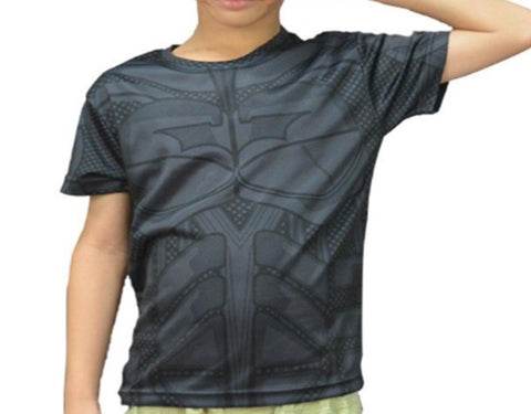 Kid's Batman Animated Short Sleeve Compression Rash Guard-RashGuardStore