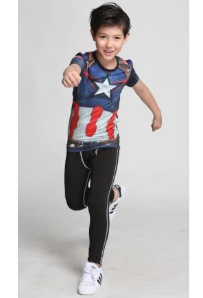 Kid's Captain America 'Avengers' Compression Rash Guard-RashGuardStore