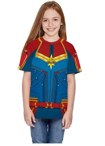 Kid's Carol Danvers Captain Marvel Dri-Fit Shirt-RashGuardStore