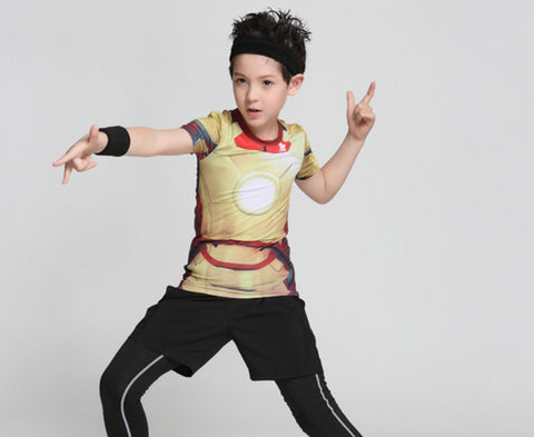 "Kid's Iron Man ""Mark XLII"" Compression Rash Guard-RashGuardStore"
