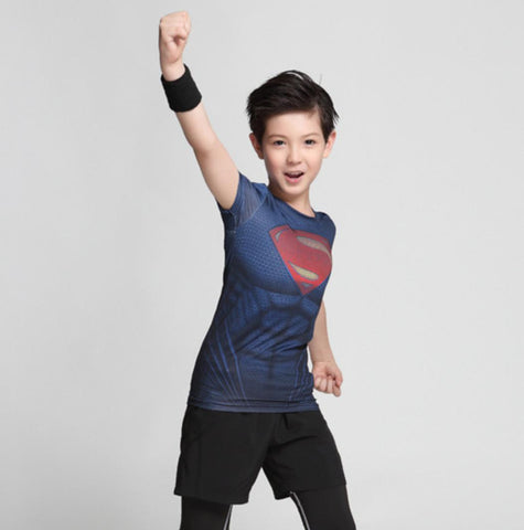 "Kid's Superman ""Man Of Steel"" Compression Short Sleeve Rashguard-RashGuardStore"