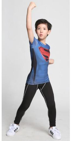 "Kid's Superman ""Red S"" Compression Short Sleeve Rashguard-RashGuardStore"