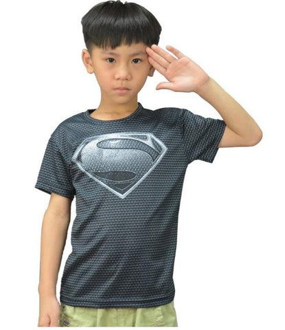 "Kid's Superman ""Son of Krypton"" Compression Short Sleeve Rashguard-RashGuardStore"