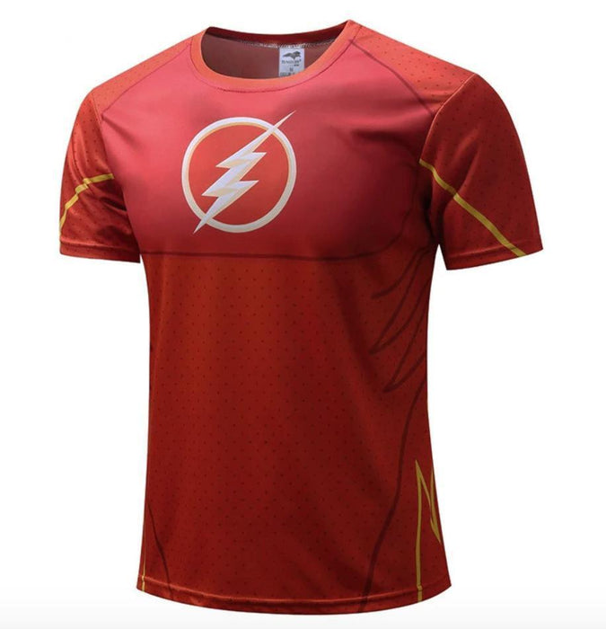 "Kid's The Flash ""Classic"" Short Sleeve Compression Rash Guard-RashGuardStore"