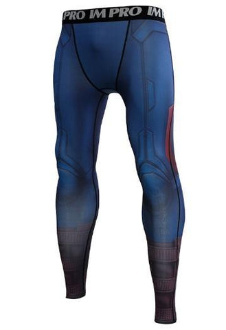Men's Captain America Steve Rogers 'End Game' Premium Compression Leggings Spats-RashGuardStore