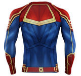 Men's Captain Marvel Carol Danvers Compression Long Sleeve Rashguard-RashGuardStore