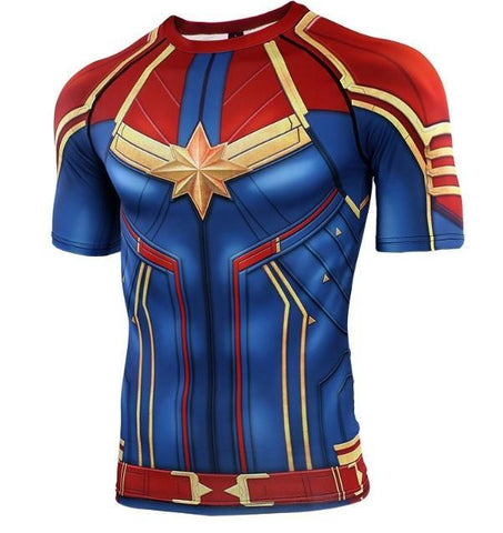 Men's Captain Marvel Carol Danvers Compression Short Sleeve Rashguard-RashGuardStore